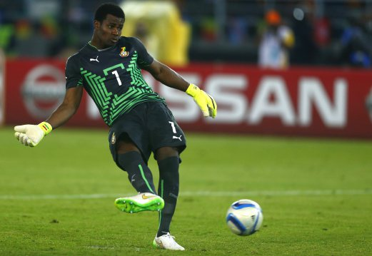 Ghana's goalkeeper Razak Braimah kicks and misses the last penalty during the African Nations Cup final soccer match against Ivory Coast in Bata, February 8, 2015. Ivory Coast won the African Nations Cup for the first time in 23 years as they edged Ghana 9-8 on penalties following a goalless draw after extra time in Sunday's final at Estadio de Bata. REUTERS/Amr Abdallah Dalsh (EQUATORIAL GUINEA - Tags: SPORT SOCCER)