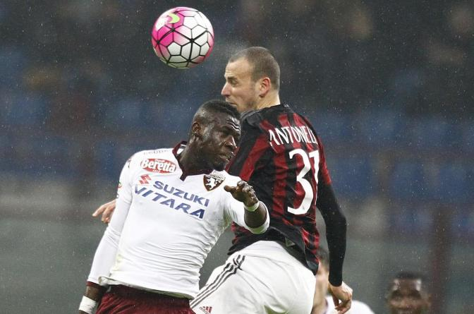"Foto LaPresse - Spada27  febbraio 2016 Milano ( Italia)Sport CalcioMilan - Torino Campionato di Calcio Serie A TIM 2015 2016 - "" Stadio San Siro ""Nella foto: acquah antonelli Photo LaPresse - SpadaFebruary 27,  2016 Milan ( Italy )Sport SoccerMilan - Torino Italian Football Championship League A TIM 2015 2016 - "" San Siro  Stadium ""In the pic:  acquah antonelli"